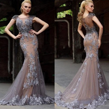 Buy Elegant Tulle Cap Sleeve Mermaid Evening Dress 2017 Lace Appliques Sleeveless Prom Dresses Scoop Collar Sweep Train Prom Gown W2 for $164.68 in AliExpress store