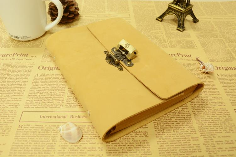 2014 Genuine leather fashion vintage lockable loose-leaf notepad first layer of cowhide diary stationery notebook 2041409<br><br>Aliexpress