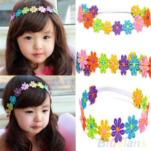 Cute Children Baby Hair Band Girl Colorful Sunflower Lace Flowers Headband 1OTY(China (Mainland))