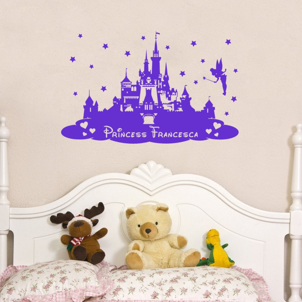 Custom personalized kids name princess castle nursery for Castle mural kids room