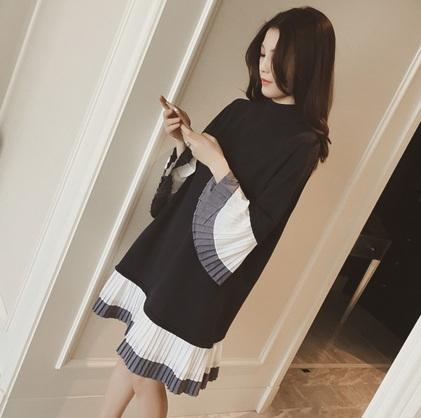 2016 New Spring Women dress Patch Long Cuff Hem Dresses Light Grey Navy 8050(China (Mainland))