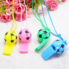 2Pcs Colourful football Soccer Rugby cheerleading Whistles Pea Fans Whistle Referee Sport Party Training School Random Color(China (Mainland))