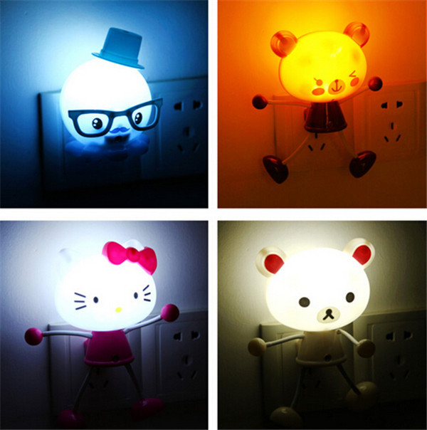 Cartoon Night Light cute LED light control sensor light corridor bedroom wall lamp wholesale outlet 4 pieces a lot(China (Mainland))