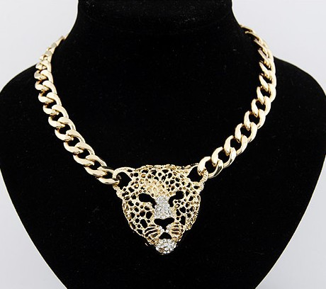 Min. order is $6 (mix order)New arrived Panther head lion head choke necklace fashion necklace for women(China (Mainland))
