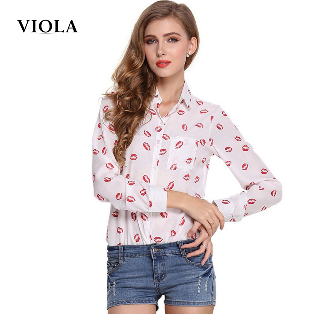 Viola Printed Long Sleeve Chiffon Blouse Ladies Black