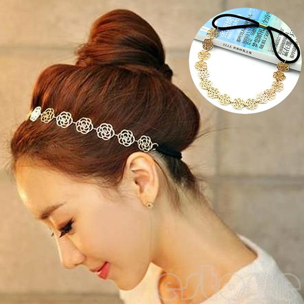 New Vintage Lovely Metallic Lady Hollow Rose Flower Elastic Hair Band Headband(China (Mainland))