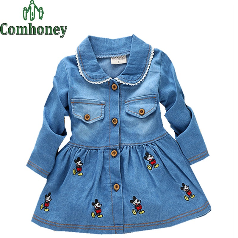 Girls Denim Dress Cartoon Turn-Down Collar Minnie Mouse Dress for Girls Toddlers Infant Jeans Dress Summer Wedding Party Costume(China (Mainland))