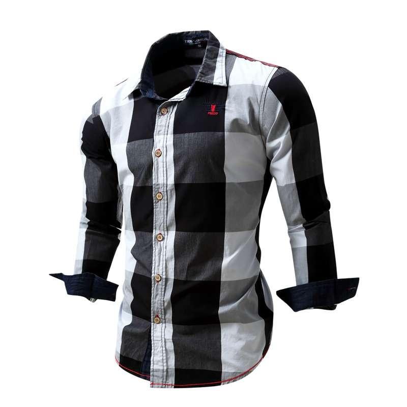 US Size Big Plaid Shirt Men\`s Long-Sleeved Shirt 100% Cotton Casual Brand Chemise Homme Fashion Business Shirts Plus Size M099 (17)