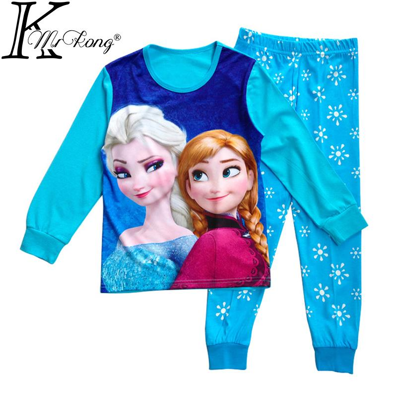 Гаджет  2015 Cartoon anna&elsa girls pyjamas kid baby pyjama sets enfant fille cotton pijama children sleepwear kids clothes for girls None Детские товары