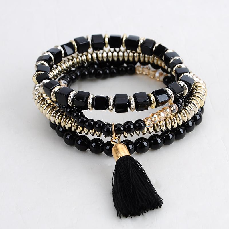 Bohemian Ethnic Multi-layer Beads Tassel Elastic Men Charm Bracelets Women Cuff Boho Fashion Jewelry - SEC International's store