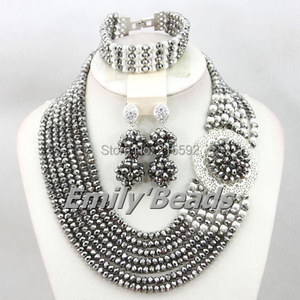 Charming Silver African Costume Beads Jewelry Set Nigerian Wedding African Bead Jewelry Set Fashionable Free Shipping AEJ381(China (Mainland))
