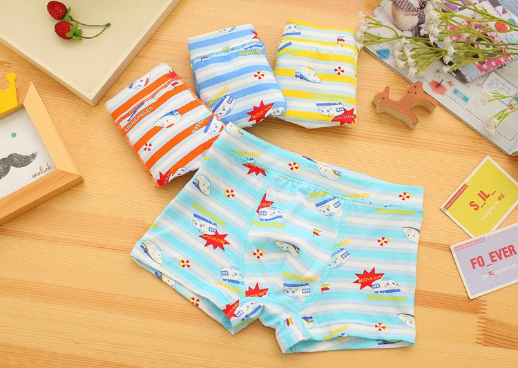 10pcs/lot Children's underwear Cartoon Stripe car boys underwear boy Boxer shorts size:2-12year 95% cotton boy panties(China (Mainland))