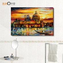 Buy 100% hand-painted canvas landscape oil painting venice Large castle abstract paintings palette knife home decor living room for $17.65 in AliExpress store
