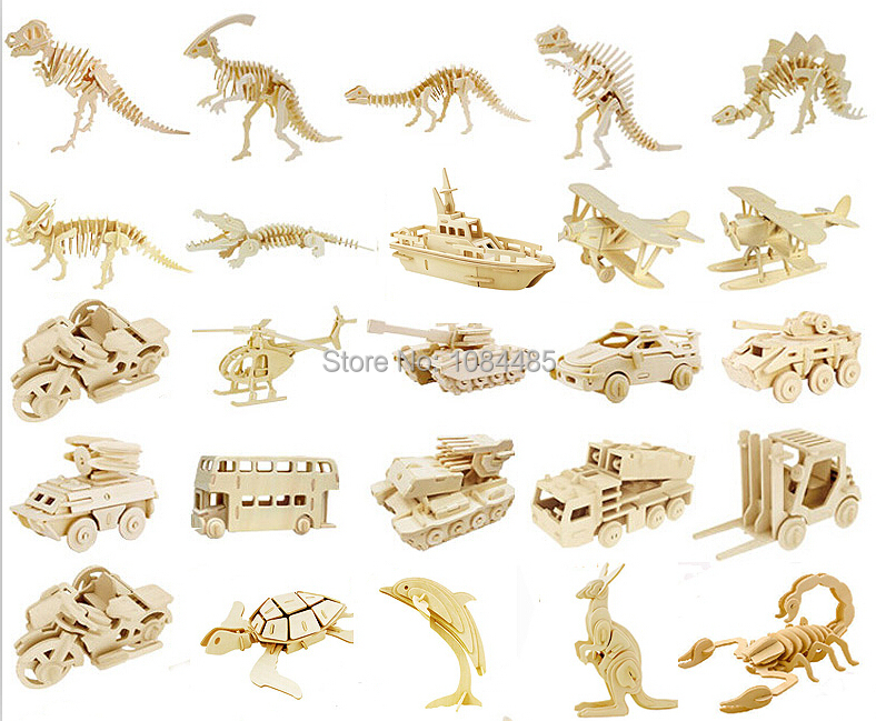 High Quality DIY Kids 3D Wooden Puzzles Animal Model Assembling Kits IQ Educational Toys for Children