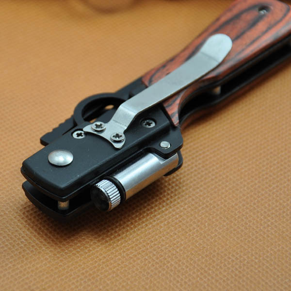 10PCS lot Free shipping with LED light Survival Pocket Knives Hungting Folding Knife Black Blade Wood