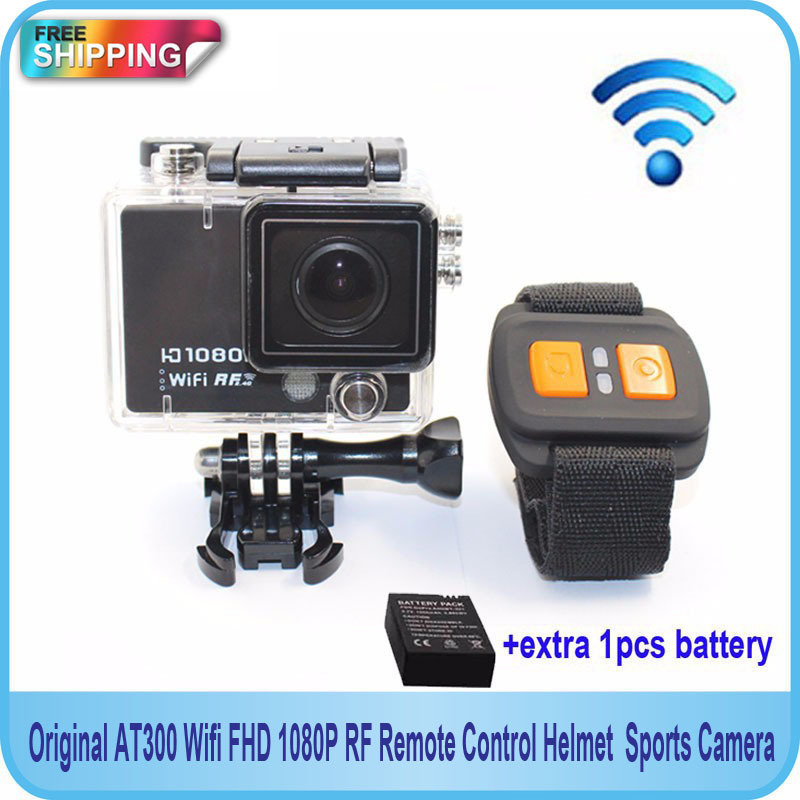 Free shipping!!Original AT300 Wifi FHD 1080P RF Remote Control Helmet Gopro Style Sports Camera +Extra 1pcs battery