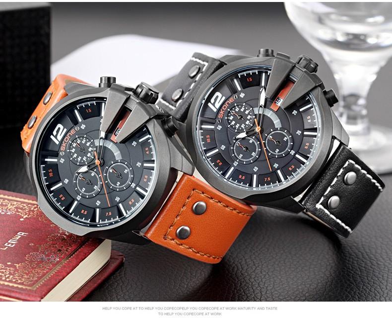 SKONE Хронограф Спортивные Часы Мужчин Роскошный Лучший Бренд Открытый Случайный Кожаный Ремешок Часы Мужчины Кварцевые Наручные Часы