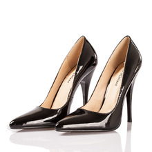 2016 Spring Fetish High Heels Pumps 10cm 12cm Black Leather Pointed Stilettos Ladies Size 11 Shoes Online(China (Mainland))