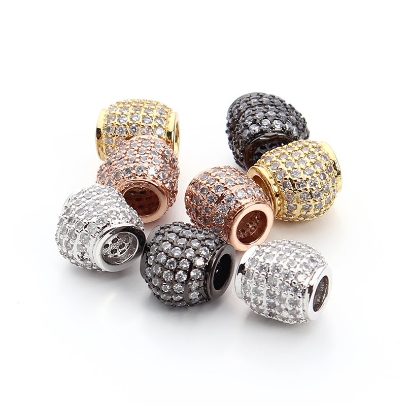 2pcs/lot High Quality Gold/Rose Gold/Rhodium/Gun Black Plated Zircon Crystal Metal Spacer Beads 4mm Hole DIY Beads Jewelry F3287<br><br>Aliexpress