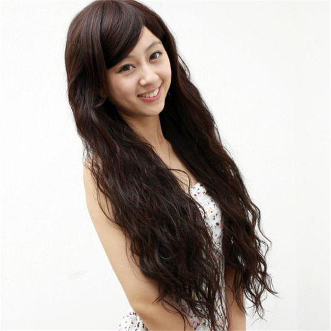 Гаджет  Women Fashion Corn Perm Fluffy Black Brown Burgundy Extra Long Curly Wavy Half Hair Wig Cheap Natural Synthetic Wigs with Bangs None Волосы и аксессуары