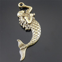 10pcs/lot Ancient bronze Alloy Mermaid Women Charms pendants Fashion Jewelry finding Fine Jewelry making  for necklace74*22*4mm