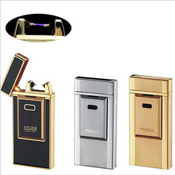 Promotions Windproof Ultra-Thin Metal Pulse Charge Usb Lighter Electronic Cigarette Lighter New Fashion Windproof Lighters (China (Mainland))