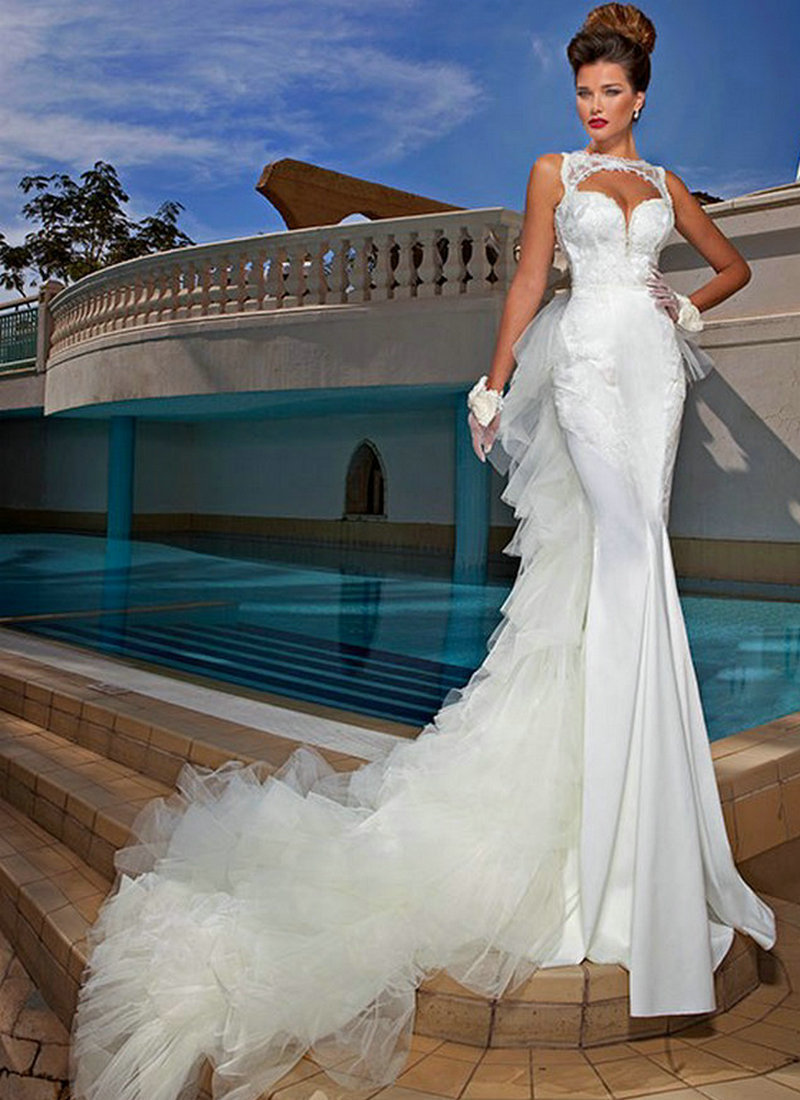 White satin and lace sleeveless bohemian style wedding for Mermaid wedding dress with train