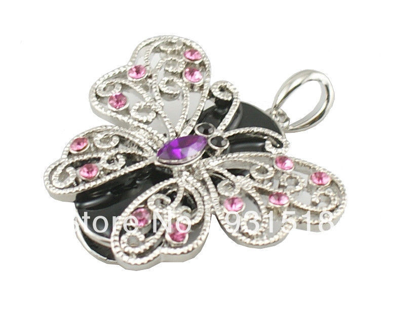 Crystal Butterfly USB flash drive 32GB Jewelry neacklace USB disk 10PCS/LOT(China (Mainland))