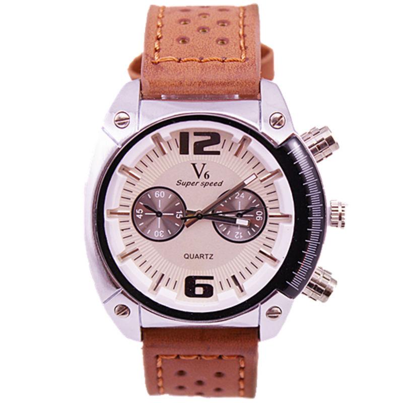 high quality v6 super speed brand men sports army big dial japan quartz movement military leather fashion watch<br><br>Aliexpress