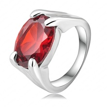 Big Red Stone Ring Simple Fashion Rings Platinum Plating Oval Shape SWA Elements Austrian Crystal Ring 22*10mm Ri-HQ0250