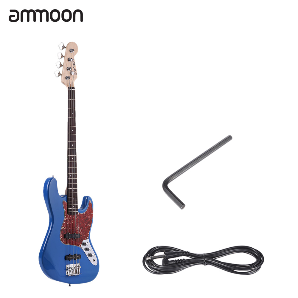ammoon 4 String JB Electric Bass Guitar Solid Wood Durable Basswood Body Rosewood Fretboard 21 Frets with 6.35mm Cable(China (Mainland))