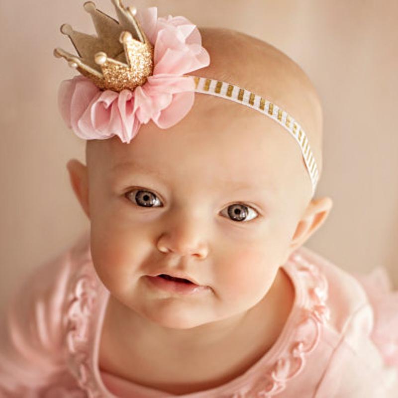 Прекрасный ребенок девушка малышей новорожденный корона повязка на голову принцессы королева корону волос группы жемчуг тиару кружева Headwearr Haird аксессуары