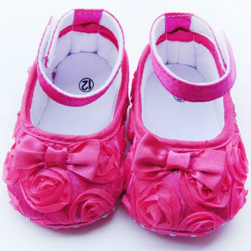 Hot sale Pink Mary Jane Baby Shoes Girls Toddler Soft Sole with Flowers 3pair/lot Free Shipping(China (Mainland))