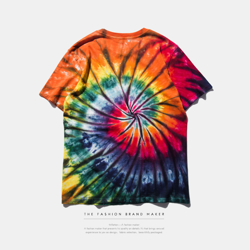 Circinate Tie Dye Gradient Color T Shirt Men Letters Prints Streetwear Fashion Skate Crossfit Rock Brand Clothing S-XXXL(China (Mainland))