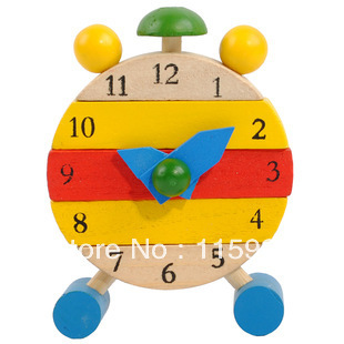 1 set retail clock Educational wooden toys baby kids blocks toys Early Learning building kids toy Multifunction Free shipping