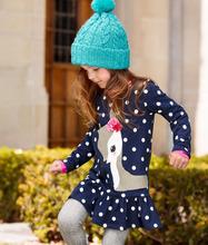 2016 Baby Kids Girls Cute Deer Long Sleeve Cotton Polka Dots Top Dress T-Shirt 1-7Y