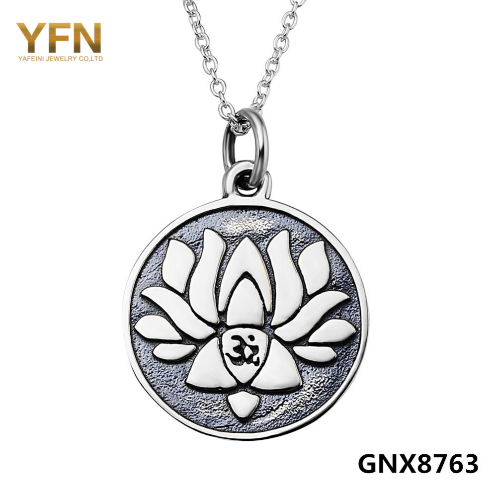 GNX8763 Vintage Jewelry 925 Sterling Silver Lotus Flower Necklace For Women Collares Mujer 18inches(China (Mainland))