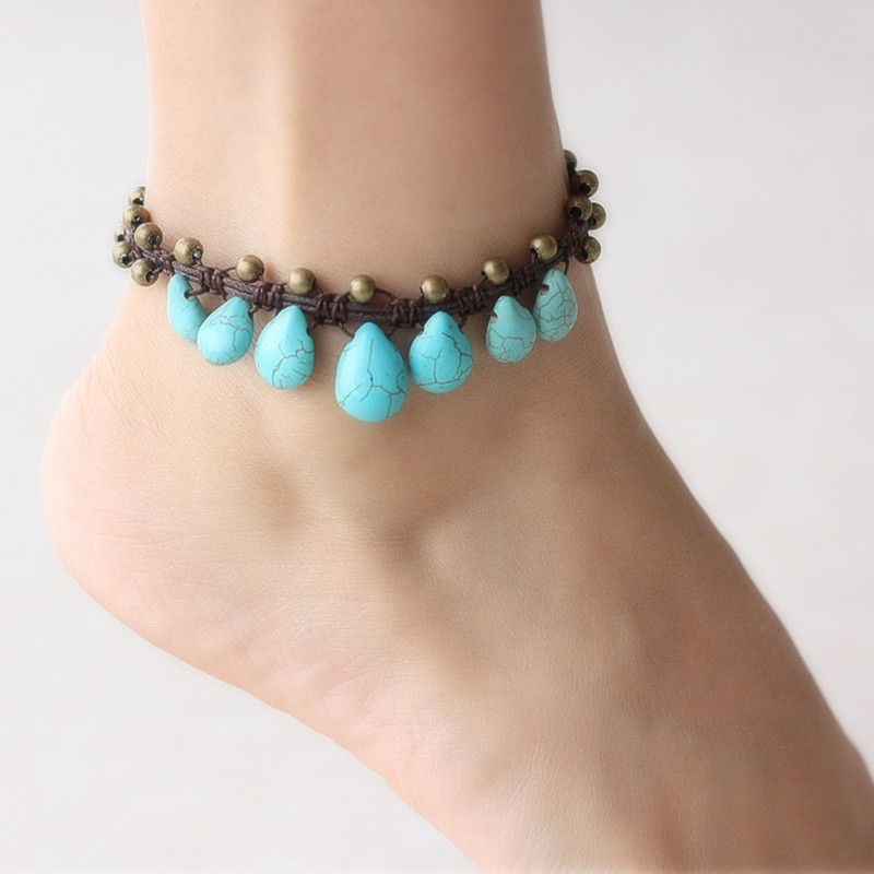 Turquoise Original Water drop bohemia design chalcedony Anklet ethnic small bell Anklet maxi vintage Pendant Anklet(China (Mainland))