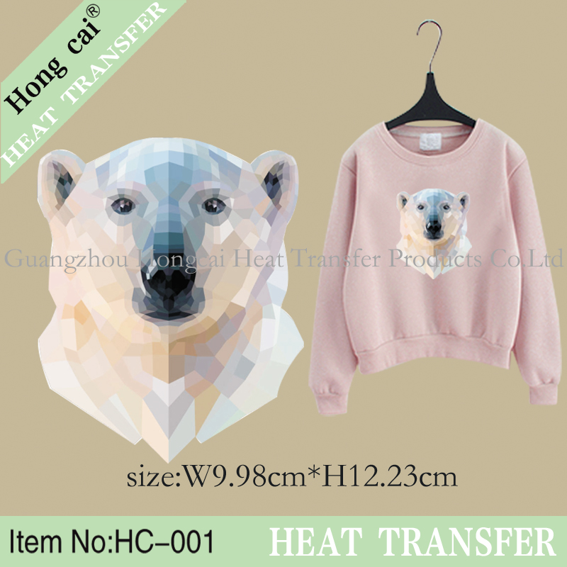 HongCai wholesale fashion crystal Polar bear pattern heat transfer sticker glue film patch(China (Mainland))