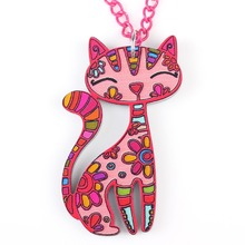 Buy Bonsny Cat Necklace Pendant Acrylic Pattern New Statement Fashion Jewelry Women Cute Animal Charm Collar Accessories for $3.90 in AliExpress store