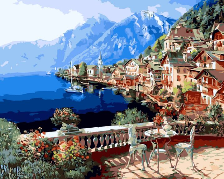 Framless Pictures Oil Painting By Numbers Digital DIY Landscape Painting On Canvas by Number Mediterranean Sea 40x50cm(China (Mainland))