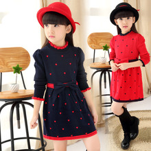 2015 new winter children's clothing Korean girls long-sleeved sweater dress sweater dress princess dress shirt(China (Mainland))