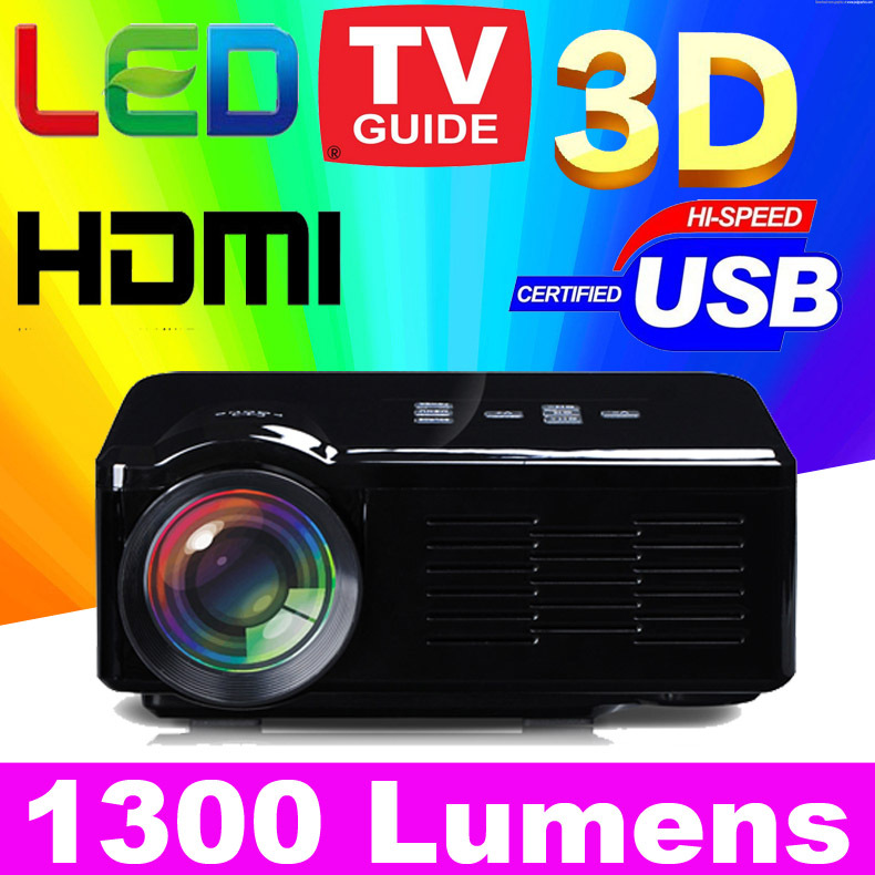 2015 New 1300lumen Cheap HD TV home cinema Projector HDMI LCD LED Game PC Digital Mini Projectors 1080P Proyector 3D Beamer ATCO(China (Mainland))