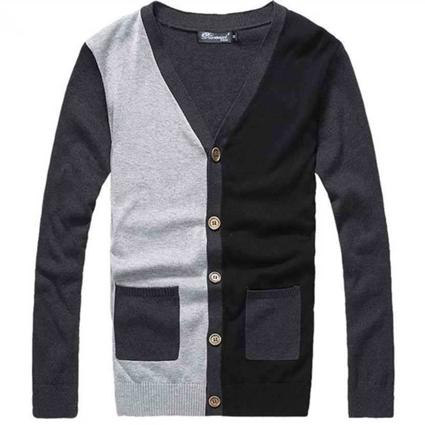 Patchwork Mixed Colors Mens Cardigans Long Sleeve 2015 New V-Neck Cashmere Sweater Men Cardigan Slim Mens Cardigan Sweater(China (Mainland))