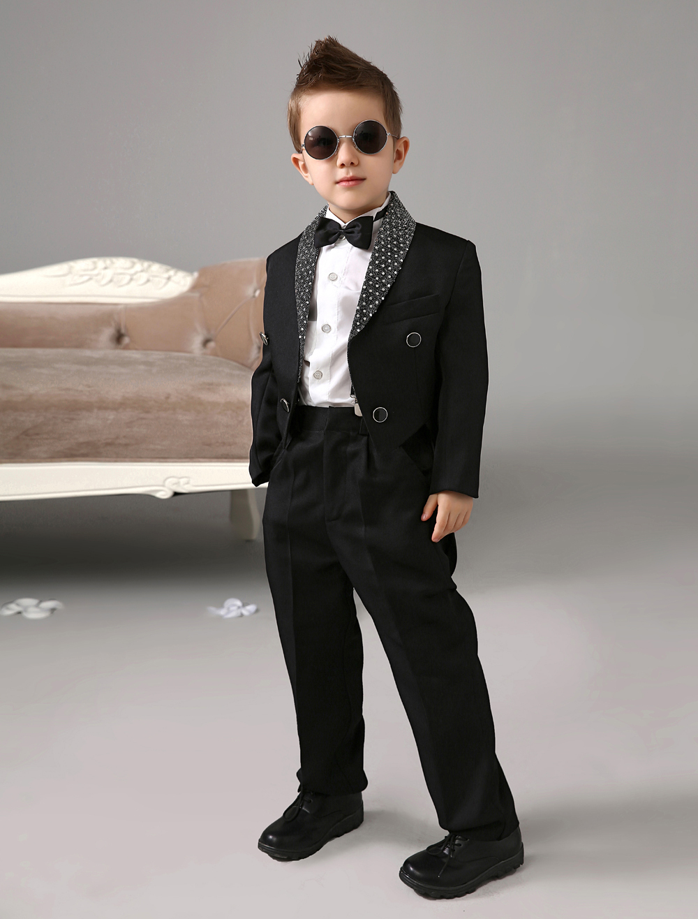 Four Pieces Luxurious formal Black boys suits kids Tuxedo With ...