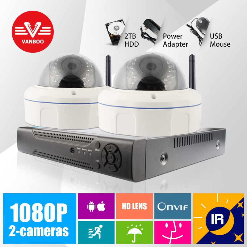 2CH 1080P HD 1920*1080 Wireless Video Security H.264 Onvif Camera Kit System With 2TB HDD Home Surveillance<br>