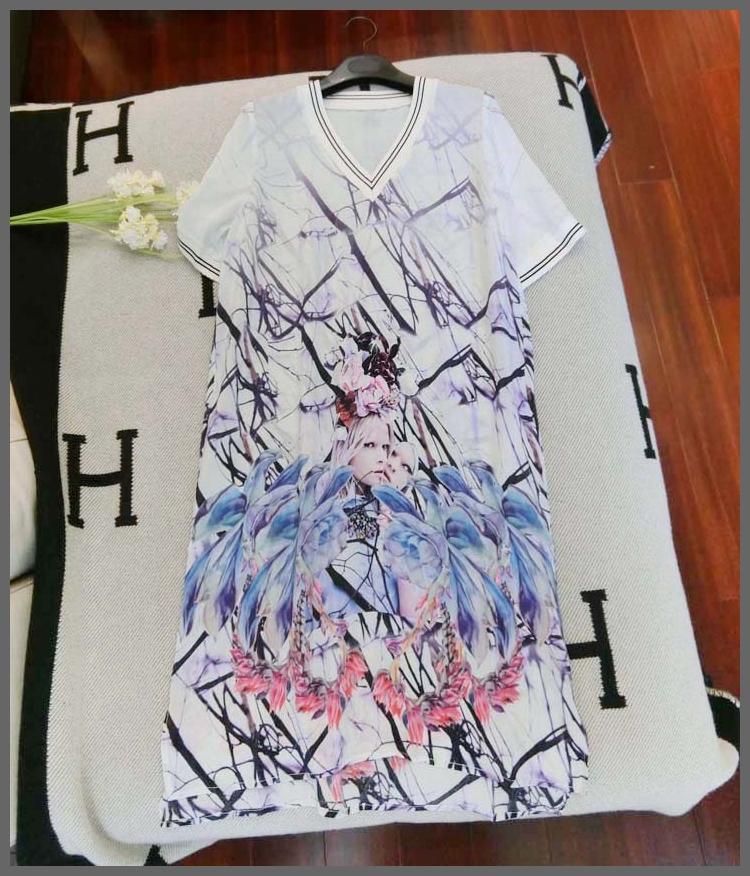 OSCAR NINE Luxury Women Abstract Graffiti Print Long Silk Dress Half Sleeve Elegant Female Flower Spring Clothes Summer Clothing(China (Mainland))