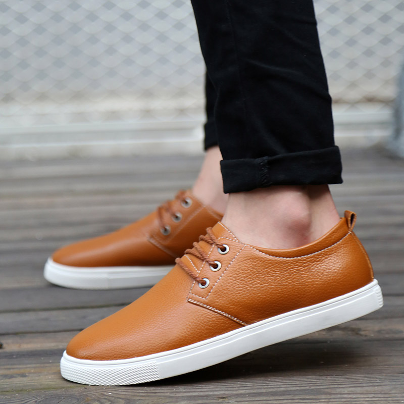 2017 Hot Men Casual Shoes New Spring Autumn Leather Shoes Flats for Men Fashion Lace-Up Big Size Shoes Oxfords Man Low Top Shoes(China (Mainland))