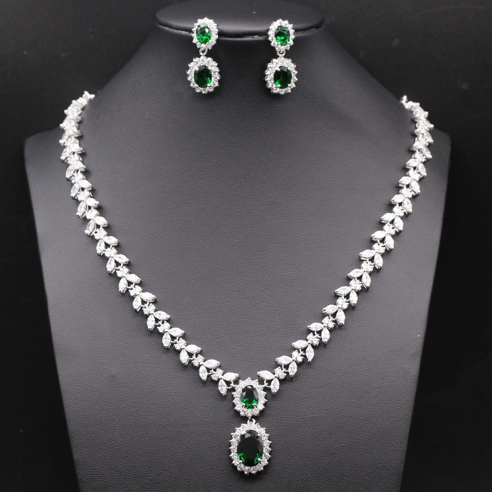 Luxury Wedding Bridal Jeweley Set 18K gold plated Green Crystal Zircon Emerald Jewelry Set Earring&amp;Necklaces Anniversary Gift<br><br>Aliexpress