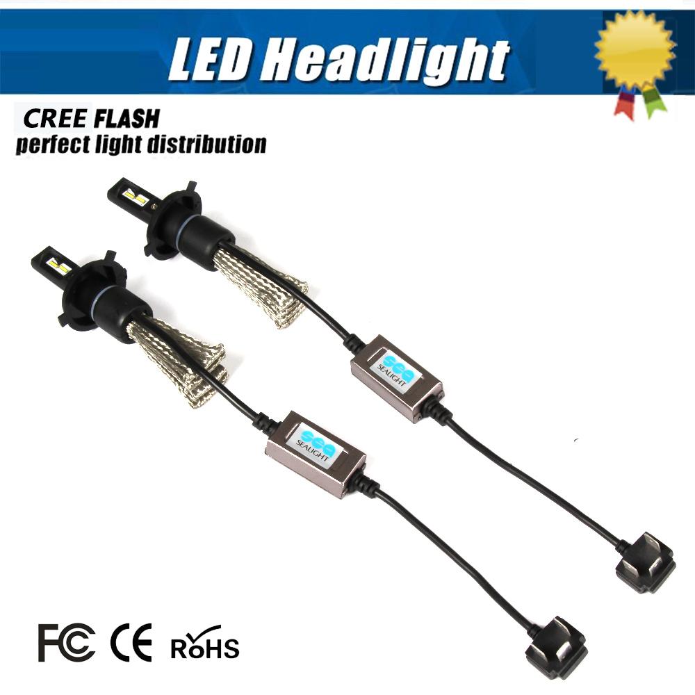 SEALIGHT Pair H4 Led Hi/Lo H4-3 Car Headlight 12W 6800LM 6000K Xenon White Auto Head Lamp Light Conversion Kit Replace HID Lamp(China (Mainland))